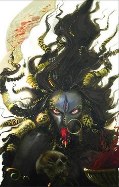 Kali is a Hindu Goddess very popular around the world. She is considered a Goddess of Destruction and she was the only one capable of defeating Raktabīja. Kali Goddess, Indian Goddess, Zombi Pin Up, Goddess Of Destruction, Kali Mata, Kali Shiva, Shiva Art, Psy Art, Divine Mother