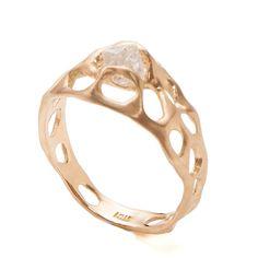 Bio E Engagement Ring - 18K Gold and Rough Diamond engagement ring by Doron Merav