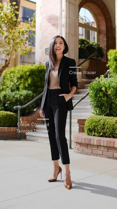 Anh Sundstrom wearing Theory Staples Crepe Blazer and Crepe Cropped Tailored Trousers Blazer Outfits For Women, Office Outfits Women, Stylish Work Outfits, Summer Work Outfits, Classy Outfits, Interview Outfit For Women, Black Blazer Outfit Casual, Office Style Women, French Chic Outfits