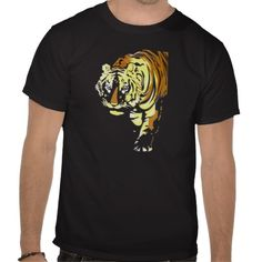 Vector art deco tiger drawing for black t-shirts