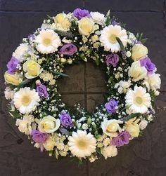Purple and White Traditional Wreath Flower Wreath Funeral, Funeral Bouquet, Funeral Flowers, White Floral Arrangements, Funeral Flower Arrangements, Grave Flowers, Church Flowers, Corona Floral, Cemetery Decorations