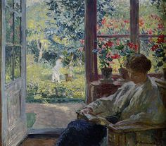 Gari Melchers - Woman Reading by a Window      Julius Garibaldi Melchers (Detroit, Michigan, August 11, 1860 – Virginia, November 30, 1932) was an American artist. He was one of the leading American proponents of naturalism.    [Oil on canvas, 64.7 x 76.1 cm]