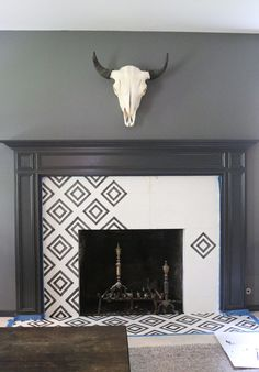 Learn how to create DIY cement tile with paint, plus a printable template. Love this idea to update an old fireplace with ugly tile! Paint Fireplace Tile, Fireplace Tile Surround, Fireplace Update, Old Fireplace, Fireplace Remodel, Fireplace Surrounds, Fireplace Design, Fireplaces, Fireplace Ideas