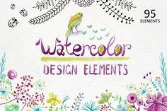 Watercolor design elements by OlgaAlekseenko on @creativemarket