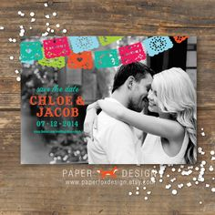 Fiesta or Mexican theme wedding Save the Date photo card from PaerFoxDesign