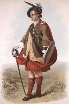 """""""MacNab"""". A plate illustrated by R. R. McIan, from James Logan's The Clans of the Scottish Highlands, published in 1845."""