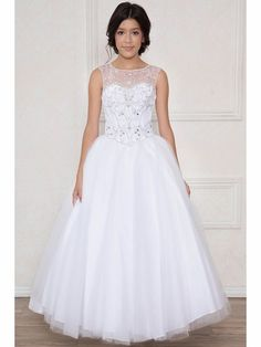 c73722d9dca4 Calla Collection KY201 White Jeweled Illusion Bodice Tulle Ball Gown