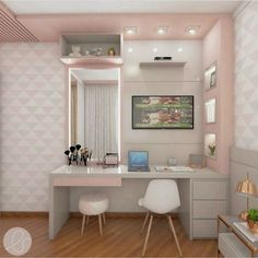 40 + modern and dreamy dorm & bedroom design ideas for you – Page 44 of 44 Dressing Table Design, Study Room Decor, Home Room Design, Room Design Bedroom, Luxury Bedroom Furniture, Stylish Bedroom, Room Decor Bedroom, Bedroom Layouts, Girl Bedroom Decor