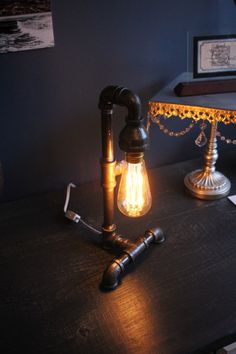 Edison Bulb Desk Lamp 90 degree base  Industrial by PipesandLights