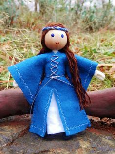 Natural Handmade Waldorf Inspired Miniature Maid Marian Dollhouse Family Doll Made in the USA