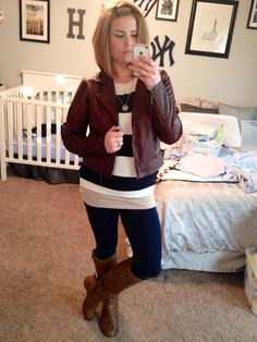 Stripes & leather. Mommy Mirror Diaries.