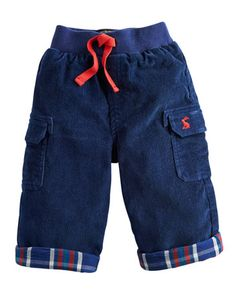 Joules BABY BEN Baby Boys Trousers, Navy. For dashing about on all-fours or to simply look dashing when out about, these comfy cotton trousers have a check lining and turn ups to give them a stylish twist.