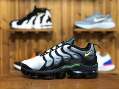 7184f7b93df87 The Nike Air VaporMax Plus Black Volt features a smoked gradient upper that  fades from White