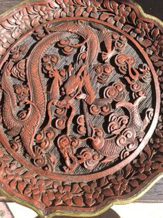 Cinnabar Plate, Faux Chinese Cinnabar, Quinlong Marking, 1900's, Cinnabar Dragon  | eBay
