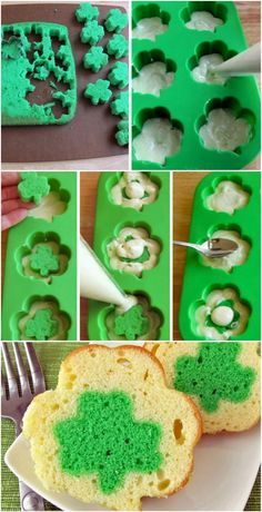 mini shamrock reveal cakes ~ note the use of this idea for other designs too!
