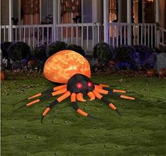 HALLOWEEN INFLATABLE 8' ORANGE FIRE AND ICE PROJECTION KALEIDOSCOPE SPIDER BY GEMMY