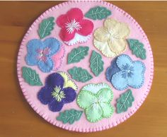 Spring Pansy Garden Penny Rug Candlemat by TwistedFiberDesigns, $26.00