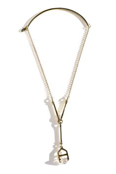 ManiaMania - Gold Quartz Divine Earrings | BONA DRAG Lariat Necklace, Arrow Necklace, Gold Necklace, Smokey Quartz, Brass Chain, Clear Quartz, Crystal Jewelry, Bling, Sale 50