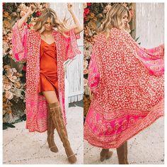 6222bc1ac9 THE JILL KIMONO Red & White Mixed Pattern Kimono Sleeve Chiffon Open  Boho Duster Cardigan