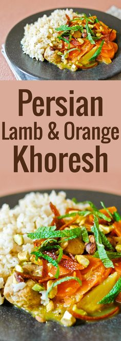 This lamb khoresh is a divine Persian dish of lamb slowly stewed in citrus juice, garnished with candied orange peel, mint, and pistachios.