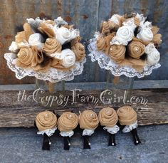 Tan and Black Burlap and Lace Wedding Bouquets and Boutonnières Tan Wedding, Rustic Wedding, Dream Wedding, Wedding Stuff, Wedding Ideas, Burlap Flowers, Burlap Lace, Wedding Bouquets, Wedding Flowers