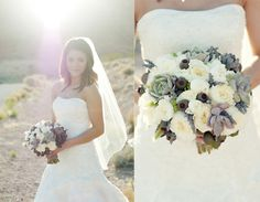 Bridal bouquet with succulents, euc pods, white garden roses and white peonies by Layers of Lovely Floral Design (Las Vegas Florist)