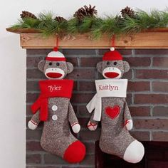 Sock Monkey Stockings. Is there anything cuter?