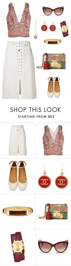 """""""Untitled #1469"""" by bushphawan ❤ liked on Polyvore featuring Sea, New York, Alice + Olivia, Isabel Marant, Chanel, Henri Bendel, Gucci, Movado, Alexander McQueen and Thomas Sabo"""