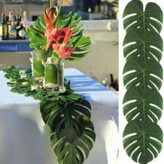 £2.9 GBP - 35X29Cm Artificial Leaf Tropical Palm Leaves For Hawaiian Theme Party Decoration #ebay #Home & Garden