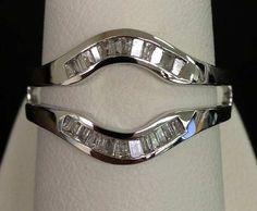 14kt White Gold Baguette Diamonds Channel Set Solitaire Enhancer Ring Guard Wrap (0.25ct. tw) by RG&D
