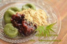 yomogi mochi balls and red bean paste