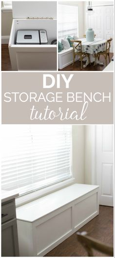 to Build a Window Seat with Storage - DIY Tutorial DIY Storage Bench Tutorial- How great to have that added storage space for small appliances!DIY Storage Bench Tutorial- How great to have that added storage space for small appliances! Storage Bench Seating, Kitchen Storage Bench, Kitchen Benches, Diy Bench With Storage, Window Storage Bench, Bedroom Storage Bench, Diy Bench Seat, Bedroom Bench With Storage, Corner Storage