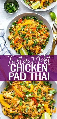 This Instant Pot Chicken Pad Thai is a super quick and easy one pot pad thai rec. - This Instant Pot Chicken Pad Thai is a super quick and easy one pot pad thai recipe that is perfect - Instant Pot Pressure Cooker, Pressure Cooker Recipes, One Pot Pad Thai Recipe, Pad Thai Huhn, Easy One Pot Meals, Healthy One Pot Meals, Healthy Eating, Instant Pot Dinner Recipes, Recipes For Beginners