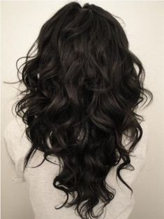 V-cut Hairstyle for Long Curly Wavy Black Hair I would love to have my hair styled like this