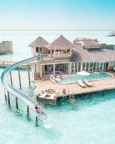 Water Villa with Slide in the Maldives Wasservilla mit Rutsche auf den Malediven Vacation Places, Vacation Destinations, Dream Vacations, Holiday Destinations, Holiday Places, Peru Vacation, Dream Vacation Spots, Vacation Mood, Mexico Vacation