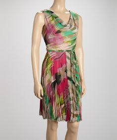 Another great find on #zulily! Pink & Green Floral Pleated Drape Dress by Voir Voir #zulilyfinds