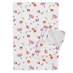 Orpington Tea Towels featuring Watercolor Sweet Cherry by atelier_kaori Sweet Cherries, Textile Design, Tea Towels, Spoonflower, Watercolor Art, Cherry, Clip Art, Textiles, Creative