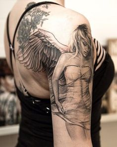 modern angel - 60 Holy Angel Tattoo Designs