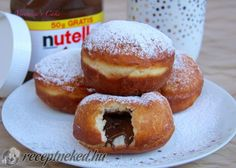 Érdekel a receptje? Kattints a képre! Doughnut, Nutella, Cookie Recipes, Hamburger, Muffin, Bread, Cookies, Desserts, Therapy