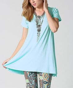 Loving this Cool Mint Swing Tunic - Plus on #zulily! #zulilyfinds