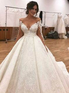 A-Line Off-The-Shoulder Long Sleeves Lace Wedding Dress With .- A-Linie Off-die-Schulter Lange Ärmel Spitze Brautkleid mit Strasssteinen – A-Line Off-The-Shoulder Long Sleeves Lace Wedding Dress With Rhinestones – # Sleeves Dress Dress - Luxury Wedding Dress, Sexy Wedding Dresses, Wedding Dress Sleeves, Tulle Wedding, Bridal Dresses, Lace Dress, Dresses With Sleeves, Gown Wedding, Dress Long