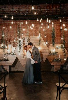 Refined Industrial: When Wood Meets Water Wedding Inspiration - Green Wedding Shoes Wood + Water Wedding Inspiration // Industrial Wedding Backdrop with Brick Hanging Lights and Hanging Leaf Eucalyptus Wedding Ceremony Ideas, Wedding Altars, Ceremony Backdrop, Decor Wedding, Gothic Wedding Decorations, Rustic Wedding, Loft Wedding, Warehouse Wedding, Wedding Shoes