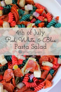 This easy patriotic red, white, and blue pasta salad is the perfect addition to any 4th of July barbecue. It can be made a couple of days ahead of time, which means you don't have to scramble for a side dish on Independence day.
