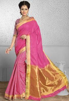 Decent Cherry Pink and Golden Saree