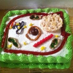 Plant cell model made into a cake for my son's school project