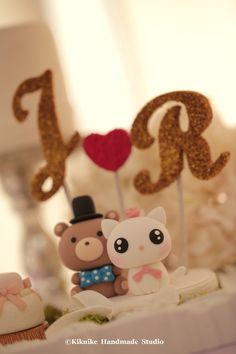 bear and cat,kitty Wedding Cake Topper