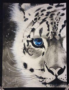 Tigre branco.. Em aquarela.. Arte..