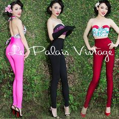 Le Palais Vintage Retro Candy Color Skinny High Waist Pants - Designed by Winny #LePalaisVintage #Skinny