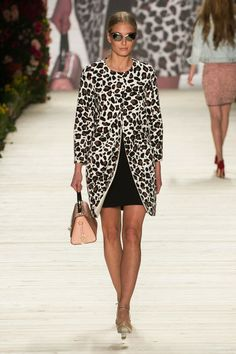 A model walks the runway at the Shop the Runway presented by Fashion ID show during Mercedes-Benz Fashion Week Autumn/Winter 2014/15 at Bran...