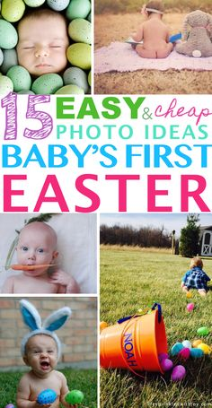 The CUTEST ideas EVER for remembering your baby's first Easter! I especially love the one cuddling the stuffed bunny! Gotta try! newborn | Easter | easter baby pictures | diy easter baby pictures | easter pictures bunny | easter photos eggs | new mom | photography | baby | baby's first year